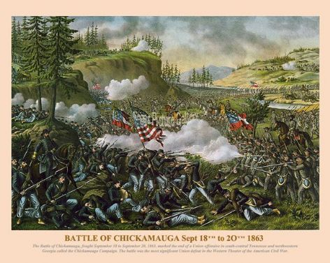 Fine art print of the American Civil War of the Battle of Chickamauga Sept 18th to 20th 1863